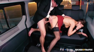 Hot Brunette British Slut Fucked Hardcore in a Czech Taxi