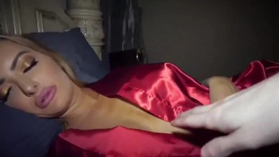 Hot Blonde Stroking His Sleeping Girlfriend Awoke