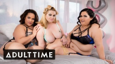 ADULT TIME - Lucky Guy with 3 Gorgeous BBWs in Lingerie