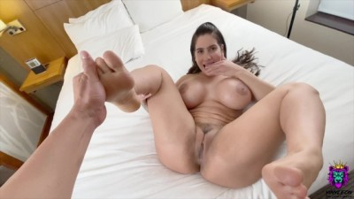 Big Tits Girl Licks her own Feet when she Feels a Dick inside her Pussy