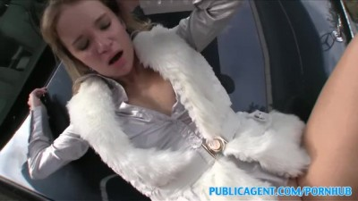 Highlighted Blonde in Fur Coat Fucked on Car