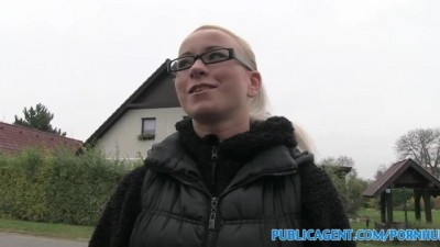 PublicAgent Slutty Blonde in Glasses Fucks a Stranger for Cash