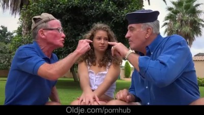 Curly Petite Sweet Girl Handling two old Cock with Brio