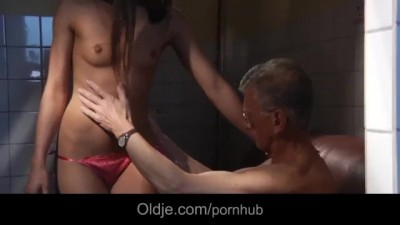 Young Slut Maid Girl Takes Old Guy's Cock