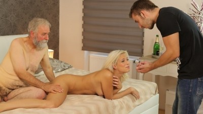 DADDY4K. Naughty old Man Drags Sons Blonde GF into Unplanned Affair