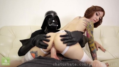 Horny Darth Vader destroys Leia's pussy Purple Bitch cosplay