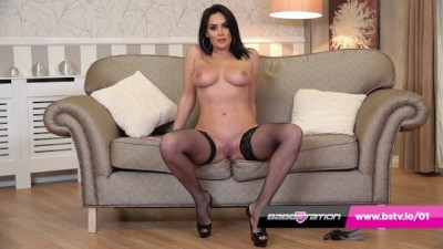 Busty British Brunette Emma Green in Sexy Stockings