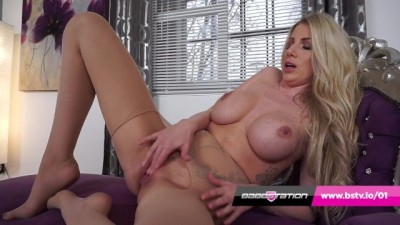 UK MILF Dani Maye Plays with Pussy in Ripped Nylons