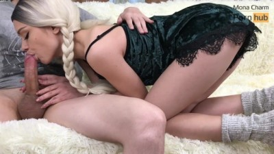 Great Throbbing Blowjob and Cum In Mouth From a Horny Cute Teen