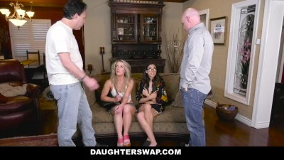 Sexy Hookers Swap Dad's Horny Dicks