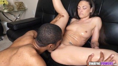 Hot Brunette Olivia Wilder Riding Big Black Dick after Massage
