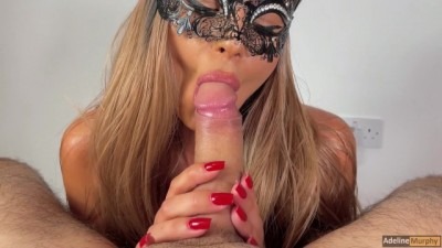 Adeline Murphy does a Close-Up Blowjob and Receives an Oral Creampie
