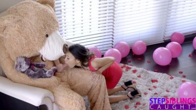 Hard Fucking The Big Valentine Teddy Bear With Step Bro Inside