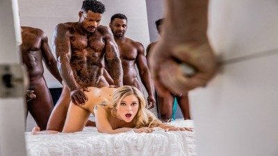Hot Blonde Kali Rose Gets Passed Around By Six BBCs