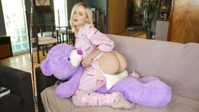 Sexy Tiny Blonde Caught Humping Stuffed Animal Gets Fucked