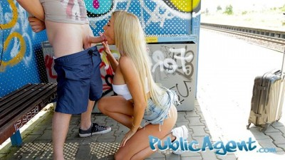 Train station public sex with beautiful woman