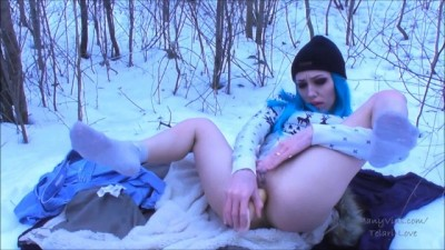 Horny Naughty girl masturbates in forest