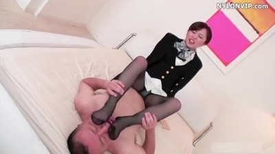 Horny Asian man Fucking Nylon stockings