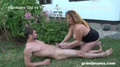 Dirty Grandma Makes Me Cumshot In The Backyard