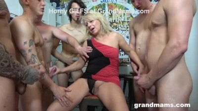 First Ever Grandma GangBang Cumshot Everywhere