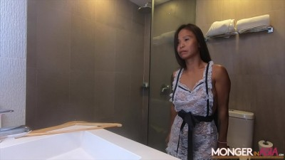 Asian housekeeper starts fucked by boss