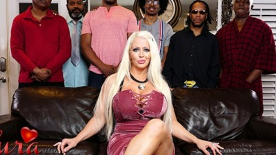 Hot Blonde Alura Jenson gangbanged by six black cocks at once