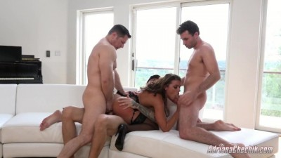 Adriana Chechik has Triple Hard Anal with James Deen Chris Strokes John Stronge