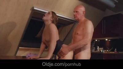 Bald old Man Fucking Doggie his Horny Youthful Teen