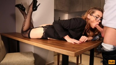 Teen Sexy Secretary Fucked on the Table Blowjob and Sex in Stockings
