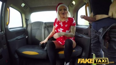 Festive Taxi Fuck and Facial Finish for Busty Mature Blonde
