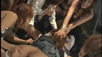 Asian Catfight Party Group Torments Pretty Submissive in Panties