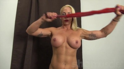 "Muscular Jill Jaxen, ""you're a Glutton for Punishment Blonde"