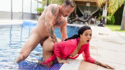 Hot Latina has sex by the pool - LetsDoeIt