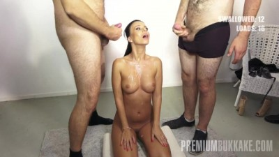 PremiumBukkake - Bronzed Brunette Beauty Vicky Love is always Hungry for more and more Cum