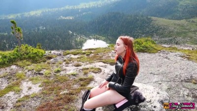 Horny Girl Fingering Herself At The Top Of A Desolate Mountain