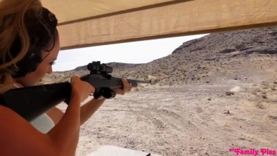 He Gave A Shooting Lesson To The Blonde Woman In A Dry Land